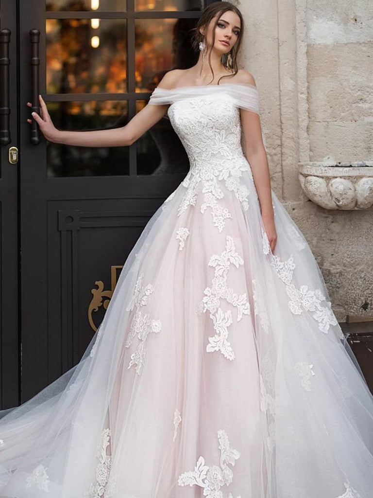 A Line Off The Shoulder Rustic Wedding Dress Applique Wedding Gowns Amy3364