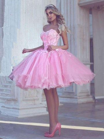 A-line Sweetheart Short Prom Dresses Pink Lace Beaded Homecoming Dress AMY3368
