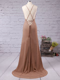 2018 Simple Prom Dresses Long Spaghetti Straps Cheap Prom Dress Evening Dresses AMY339