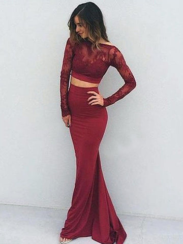 2018 Two Pieces Prom Dresses Mermaid Bateau Lace Cheap Prom Dress Evening Dresses AMY340