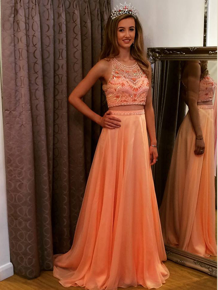 2018 Two Pieces Prom Dresses Long Cheap Beading Prom Dress Evening Dresses AMY342