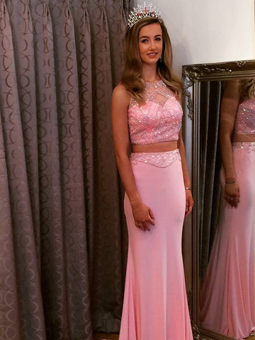 2018 Two Pieces Prom Dresses Long Cheap Beading Prom Dress Evening Dresses AMY343