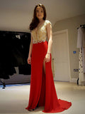 2018 Sheath/Column Prom Dresses Long Cheap Red Prom Dress Evening Dresses AMY344