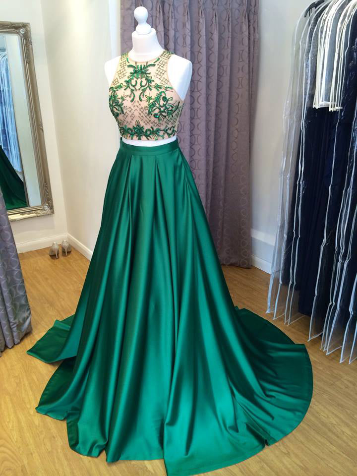 2018 A-line Prom Dresses Long Cheap Scoop Hunter Prom Dress Evening Dresses AMY348