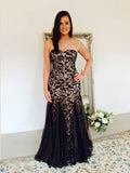 2018 Mermaid Prom Dresses Long Sweetheart Black Lace Prom Dress Evening Dresses AMY350