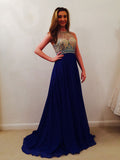 2018 A-line Prom Dresses Long Scoop Royal Blue Beading Prom Dress Evening Dresses AMY354