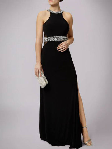 2018 Black Prom Dresses Long Scoop Chiffon Beading Prom Dress Evening Dresses AMY356