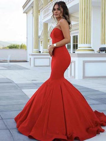 2018 Mermaid Long Prom Dresses Sweetheart Red Modest Prom Dress Evening Dresses AMY361