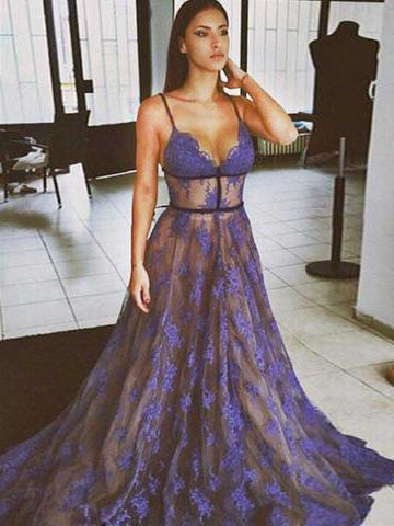 2018 A-line Prom Dresses Spaghetti Straps Floor-length Tulle Lace Prom Dress Evening Dresses AMY370
