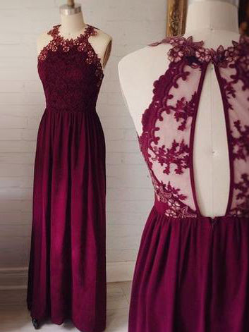 2018 A-line Prom Dresses Grape Scoop Floor-length Chiffon Lace Prom Dress Evening Dresses AMY371