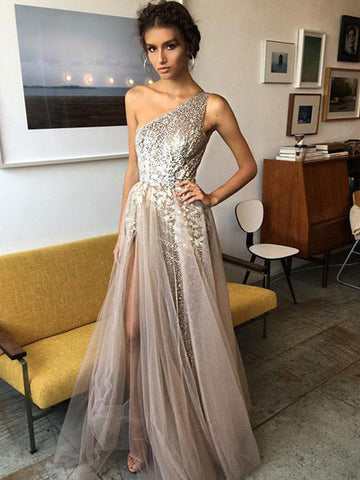 2018 A-line Prom Dresses Champagne Scoop Floor-length Tulle Prom Dress Evening Dresses AMY372