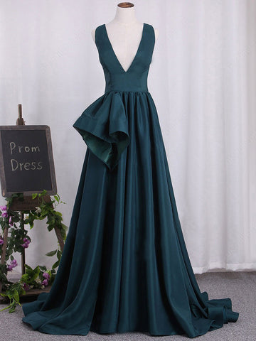 2018 Chic A-line Prom Dresses V neck Simple Cheap Long Prom Dress Evening Dresses AMY380