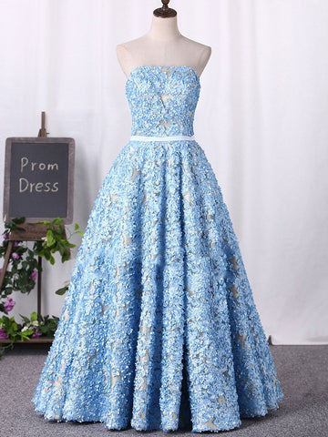 2018 Blue Prom Dresses Long Strapless Lace Cheap Prom Dress Evening Dresses AMY386