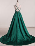 2018 A-line Prom Dresses Long Spaghetti Straps Dark Green Prom Dress Evening Dresses AMY387