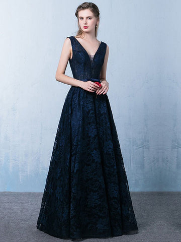 2018 A-line Prom Dresses Long V neck Dark Navy Prom Dress Evening Dresses AMY388
