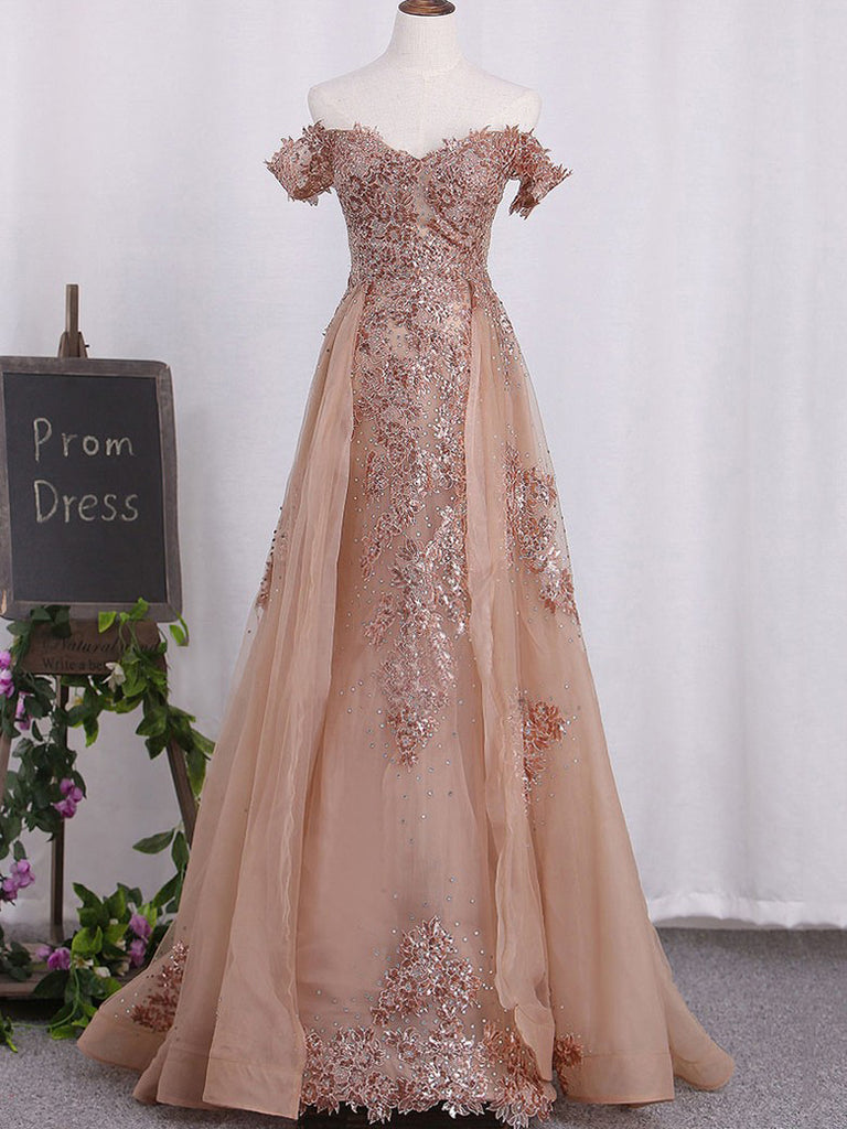 2018 A-line Prom Dresses Long Off Shoulder Applique Prom Dress Evening Dresses AMY390