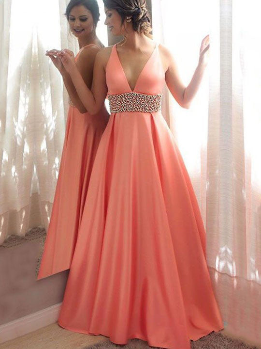 2018 Chic A-line Prom Dresses V neck Beaded Cheap Long Prom Dress Evening Dresses AMY394