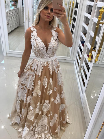 2018 Chic A-line Prom Dresses V neck Applique Cheap Long Prom Dress Evening Dresses AMY395