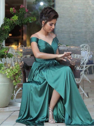 2018 Chic A-line Prom Dresses Off-the-shoulder Simple Cheap Long Prom Dress Evening Dresses AMY396