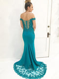2018 Chic Mermaid Prom Dresses Off-the-shoulder Chiffon Lace Long Prom Dress Evening Dresses AMY398