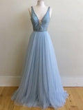 2018 A-line Prom Dresses Long Blue V Neck Modest Prom Dress Evening Dresses AMY401