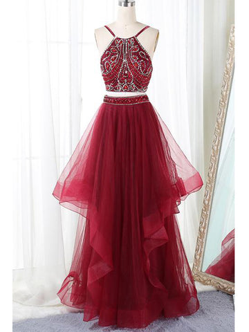 2018 Two Pieces Prom Dresses Spaghetti Straps Floor-length Tulle Prom Dress Evening Dresses AMY404