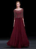 2018 A-line Burgundy Long Prom Dresses Scoop Beading Prom Dress Evening Dresses AMY405
