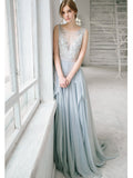 2018 A-line Chiffon Long Prom Dresses Scoop Applique Prom Dress Evening Dresses AMY406