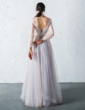 2018 A-line Prom Dresses V neck Long Sleeve Floor-length Tulle Prom Dress Evening Dresses AMY407
