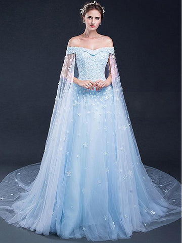 2018 A-line Blue Long Prom Dresses Off Shoulder Applique Prom Dress Evening Dresses AMY409