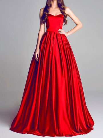 2018 A-line Prom Dresses Sweetheart Floor Length Red Long Cheap Prom Dress Evening Dresses AMY410