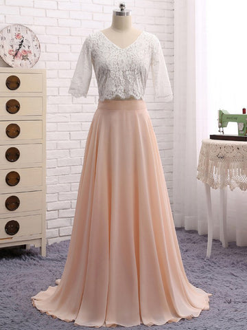 Chic Two Pieces A-line Prom Dresses Floor-length Chiffon Half Sleeve Lace Prom Dress AMY412