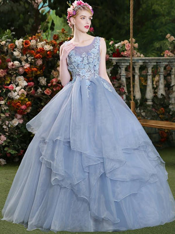 Chic Ball Gowns Prom Dresses Floor-length Organza Blue Long Prom Dress Evening Dresses AMY414