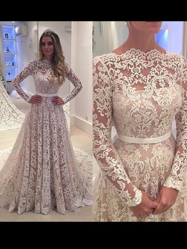 Chic A-line Prom Dresses Floor-length Long Sleeve Ivory Lace Long Prom Dress Evening Dresses AMY415