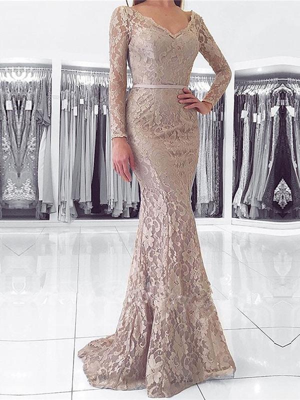 06105091657b4 Chic Mermaid Prom Dresses Floor-length Long Sleeve V neck Lace Long Prom  Dress Evening