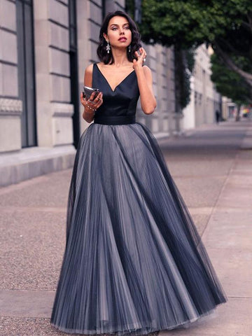 Chic A-line Prom Dresses Floor-length V neck Simple Long Prom Dress Evening Dresses AMY417