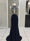 2018 Dark Navy Long Prom Dresses Scoop Beading Prom Dress Evening Dresses AMY423