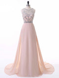 2018 Pearl Pink Long Prom Dresses Scoop Beading Prom Dress Evening Dresses AMY424
