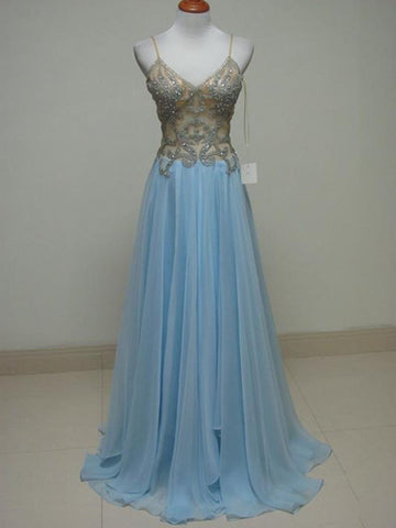 2018 Light Sky Blue Long Prom Dresses Chiffon Beading Prom Dress Evening Dresses AMY425