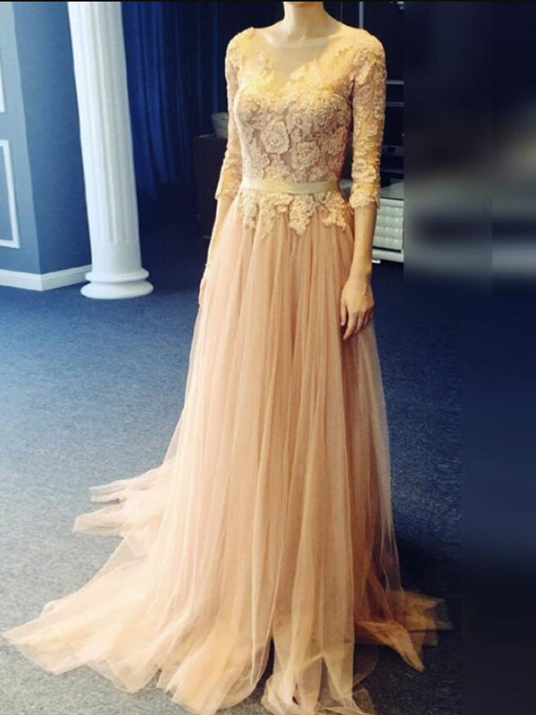 2018 A-line Long Prom Dresses Tulle Half Sleeve Prom Dress Evening Dresses AMY426