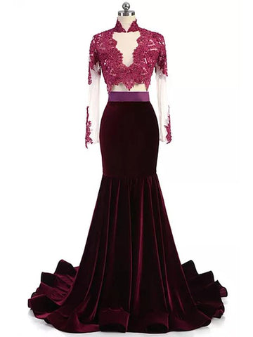 2018 Mermaid Prom Dresses Burgundy High Neck Applique Long Prom Dress Evening Dresses AMY427