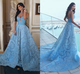 2018 A-line Long Prom Dresses Blue Strapless Lace Prom Dress Evening Dresses |Amyprom.com2018 A-line Long Prom Dresses Blue Strapless Lace Prom Dress Evening Dresses |Amyprom.com