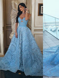 2018 A-line Long Prom Dresses Blue Strapless Lace Prom Dress Evening Dresses |Amyprom.com