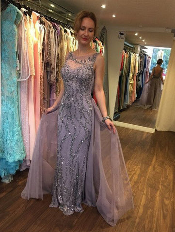 2018 Sheath/Column Long Prom Dresses Sleeveless Beading Prom Dress Evening Dresses AMY430