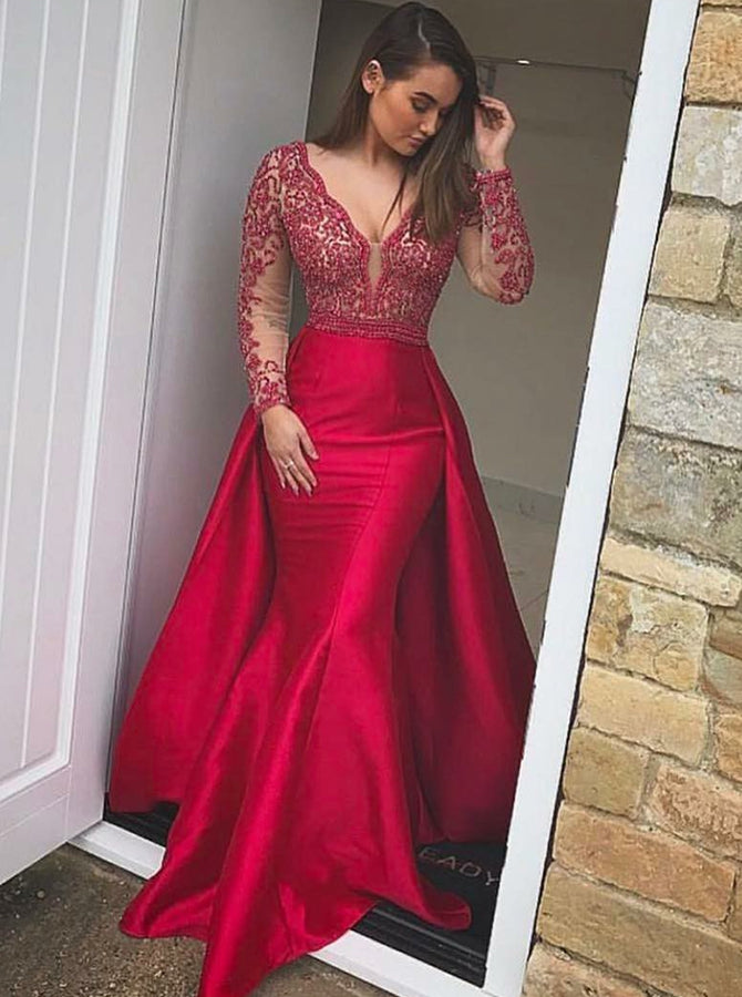2018 Mermaid Long Prom Dresses Red Long Sleeve Beading Prom Dress Evening Dresses AMY432