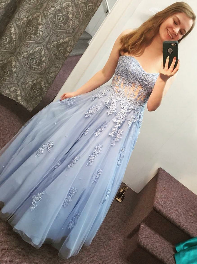 5a5eec424d3 2018 A-line Prom Dresses Floor-length Sweetheart Tulle Blue Prom Dress  Evening Dresses