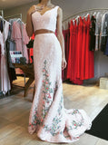 2018 Two Pieces Prom Dresses Floor-length Straps Tulle White Prom Dress Evening Dresses AMY434