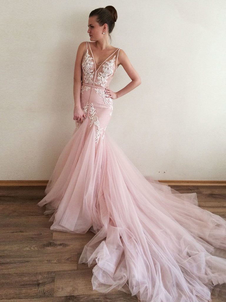 2018 Mermaid Prom Dresses V neck Applique Tulle Modest Prom Dress Evening Dresses AMY436