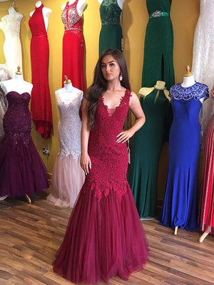 2018 Mermaid Prom Dresses Straps Applique Tulle Burgundy Prom Dress Evening Dresses AMY437