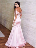 2018 Mermaid Prom Dresses Off Shoulder Simple Satin Pink Prom Dress Evening Dresses AMY438